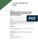 Rhr 5225 1 Theologie Politique Et Islam a Propos d Ibn Taymiyya m 728 1328 Et Du Sultanat Mamelouk