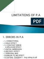 Limitations of PA 1