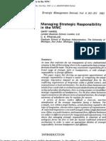 Prahalad & Hamel - Managing Strategic Responsibility in the Mnc