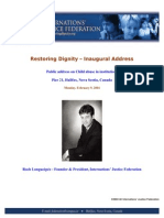 Restoring Dignity - Inaugural Address