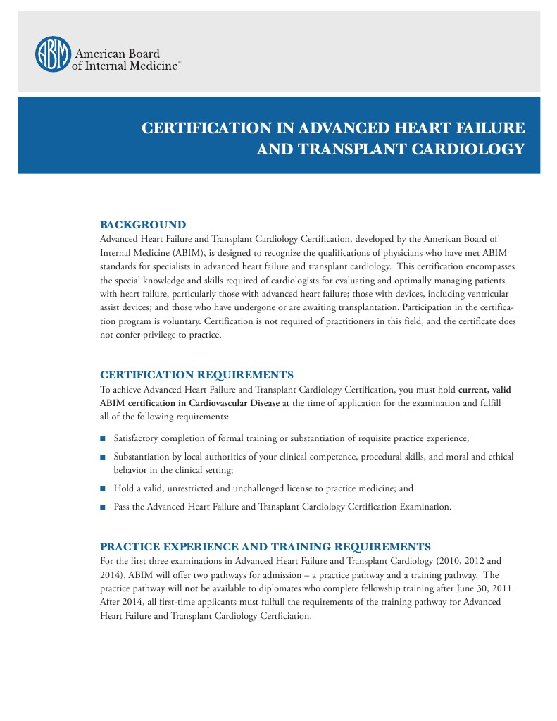 Certification In Advanced Heart Failure And Transplant Cardiology