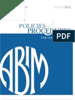 Policies and Procedures Certification August 2012 ABIM