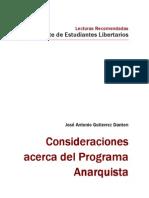 Consideraciones acerca del Programa Anarquista - José A Gutierrez Danton