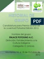 Historial de Grupo Para Permio de La Juventud. Enlace Potosino a.C.