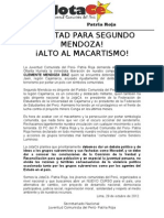 Comunicado Segundo Mendoza 29-10-12