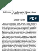 La Protesta y La Andinizacion Del Anarquismo en El Peru, 1912-1915 - Gerardo Leibner