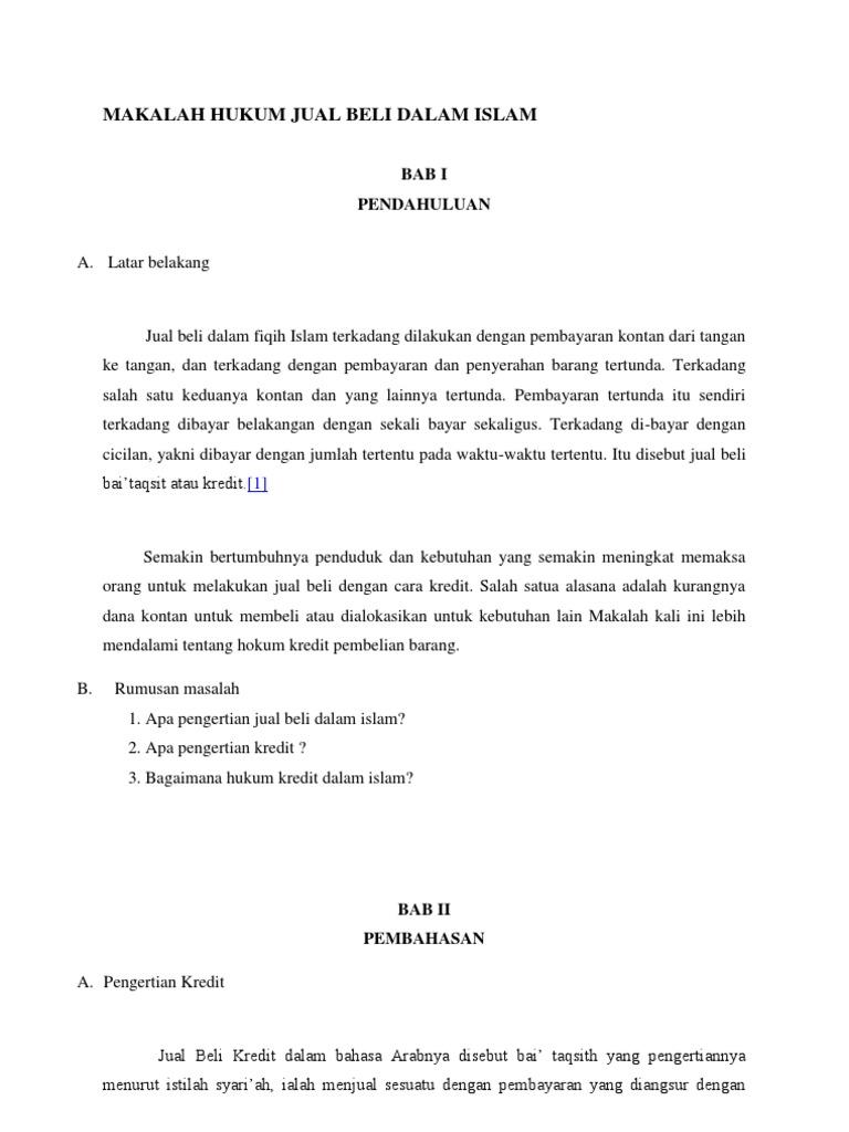 Makalah Hukum Jual Beli Dalam Islam