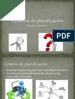 Criterios de planificación