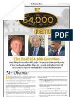 Washington Times: The $64,000 Question; Lord Monckton Offers Michelle Obama $64k For Look At Obama's Birth Records - 10/29/2012