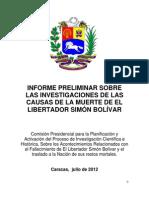 Informe Sobre Las Investigaciones de Las Causas de La Muerte de El Libertador