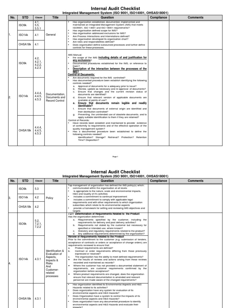 IMS Checklist   Verification And Validation   Internal Audit