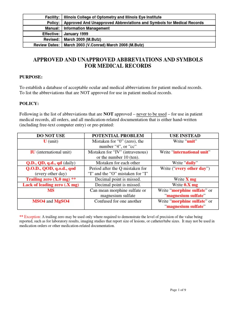Approved And Unapproved Abbreviations For Medical Records Glaucoma