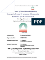 Application of QFD and Value Engineering Concepts in Product Development of Commercial Ventilation System Exhaust Hood