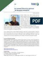 Nathalie Watine est nommée Directrice générale Logement France de Bouygues Immobilier