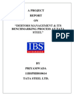 Debtors Management & Its Benchmarking Process at Tata Steel_ Priyamwada_11BSPHH010614
