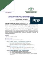 Analiza CLIMATULUI Organizational 7 - 9 Decembrie