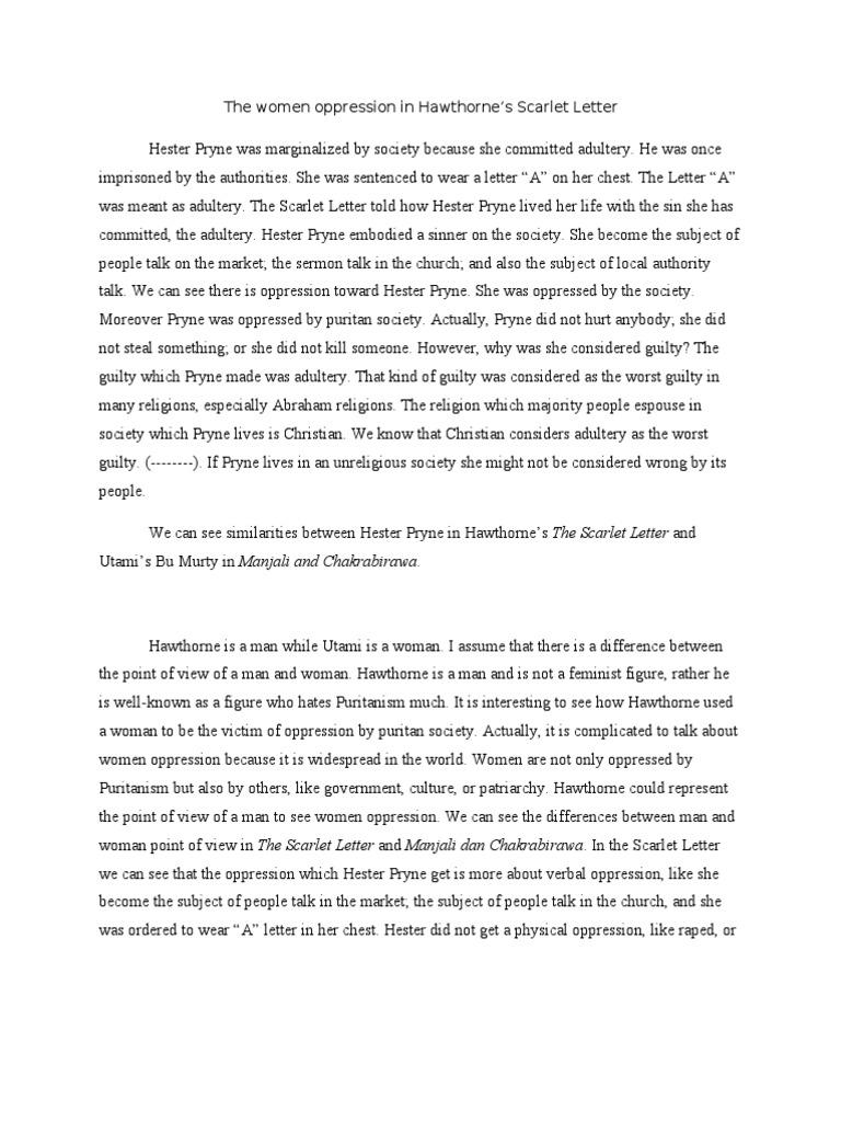 the women oppression in hawthorne scarlet letter the scarlet letter