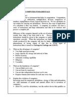 Computer Fundamentals Study Material