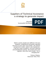Suppliers of Technical Assistance a Strategy to generate Impact