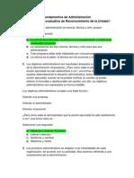 Act. 3 Lección evaluativa de Reconocimiento de la Unidad I - Fundamentos de Administración