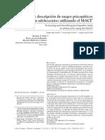 Vinet, E. V., Alarcón, B. P. & Pérez-Luco, R. Detección y descripción de rasgos psicopáticos en adolescentes utilizando el MACI