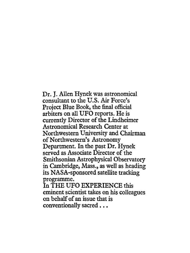 J Allen Hynek The UFO Experience A Scientific Inquiry 1972