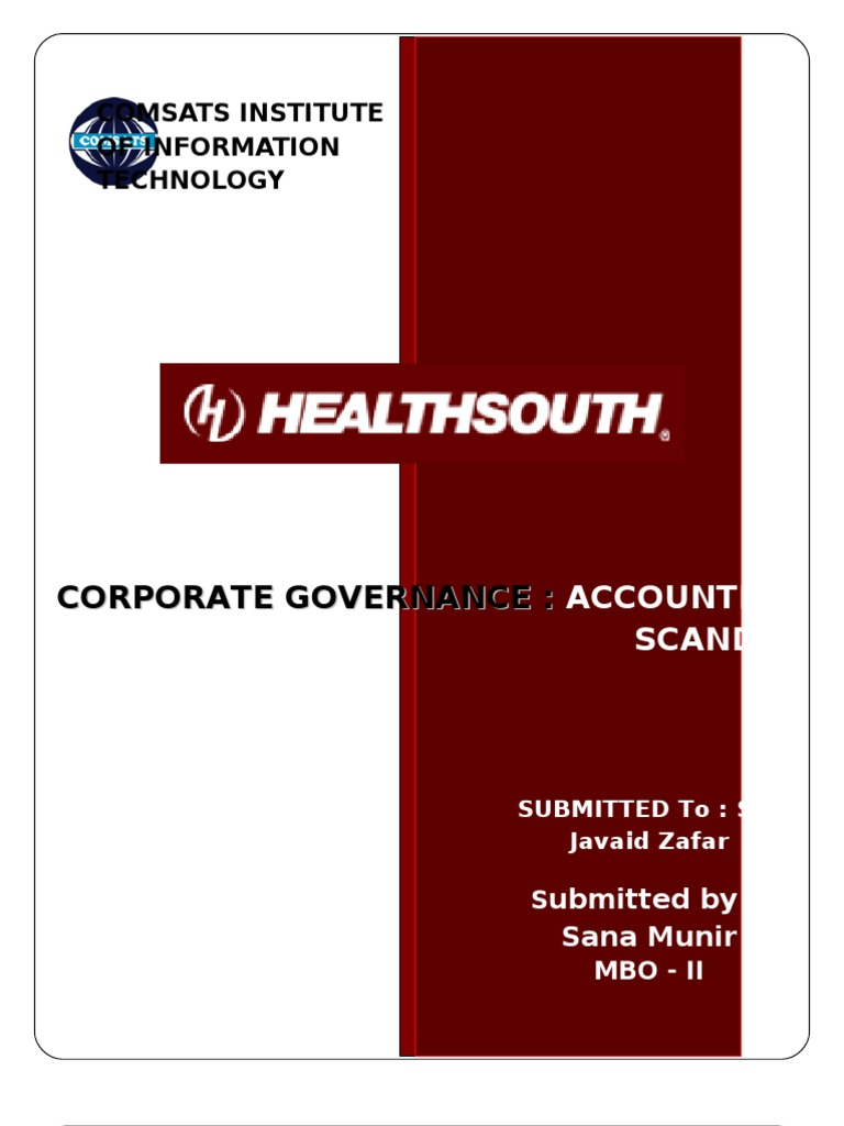 Who were the stakeholders in the HealthSouth scandal? how were they affected?