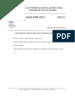 Fizik Kertas 1 Percubaan SPM 2012 P Pinang