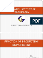 Function of Production Department