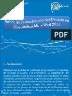 Indice de Insatisfaccion Del Usuario en Hospitalizacion 2011