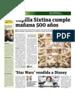 Capilla Sixtina cumple mañana 500 años