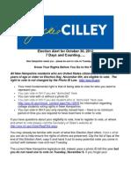 Jackie Cilley Election Alert for October 30 2012