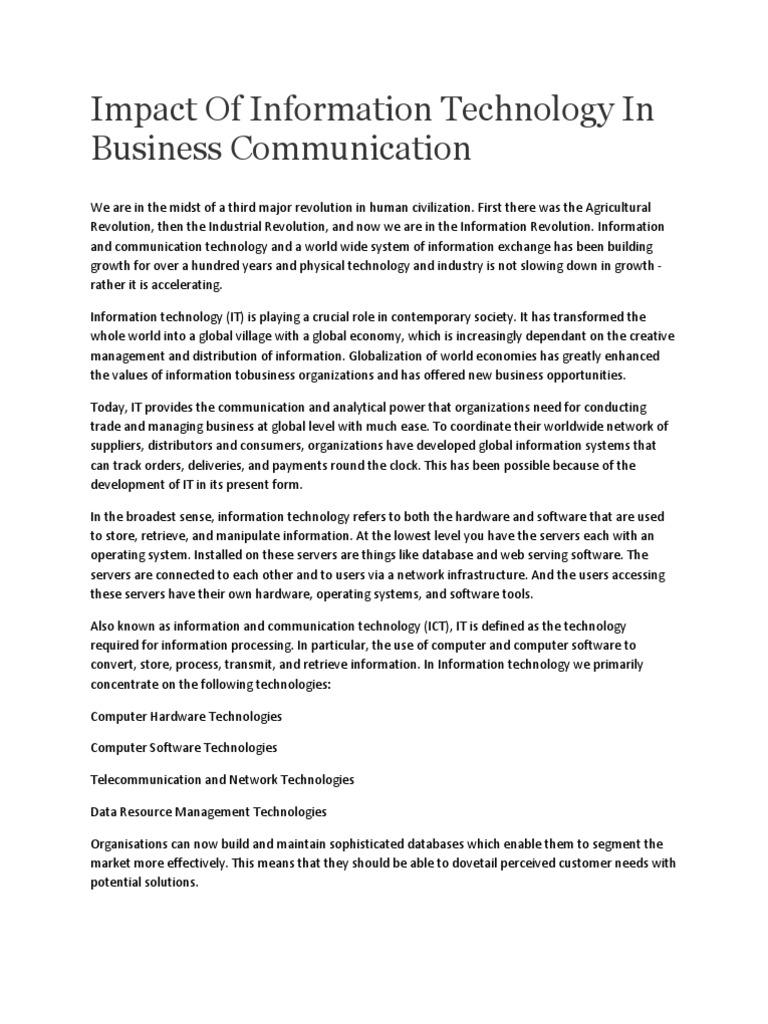 impact of technology on business communication