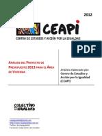 Análisis del Proyecto de Presupuesto 2013 para el Área de Vivienda CEAPI