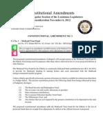 Constitutional Amendments of the 2012 Regular Session of the Louisiana Legislature for consideration November 6, 2012