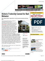 Historic Fraternity Canned for Bad Behavior