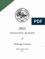 2013 Tentative Saratoga County Budget
