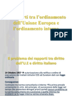 I Rapporti Tra l'Ordinamento Dell'Unione Europea e l'Ordinamento Interno