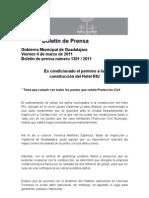 04-03-2011 Es condicionado el permiso a la construcción del Hotel RIU