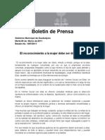08-03-2011 El Reconocimiento a La Mujer Debe Ser Diario, JAS