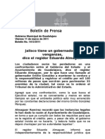 11-03-2011 Jalisco Tiene Un Gobernador de Venganzas, Dice El Regidor Eduardo Almaguer