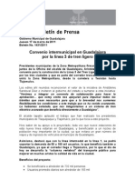 17-03-2011 Convenio intermunicipal en Guadalajara por la línea 3 de tren ligero
