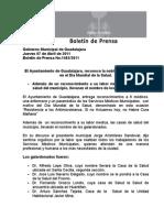 07-04-2011El Ayuntamiento de Guadalajara, reconoce la noble labor del Médico en el Día Mundial de la Salud.
