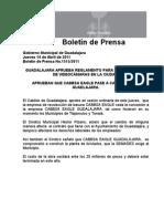 14-04-2011 GUADALAJARA APRUEBA REGLAMENTO PARA LA INSTALACION DE VIDEOCÁMARAS EN LA CIUDAD