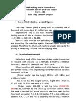 Refractory Work Procedure of Clinker Cooler and Kiln Hood
