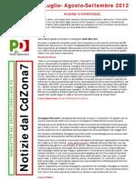 Newsletter di LUGLIO, AGOSTO, SETTEMBRE 2012 del Gruppo Consiliare PD di Zona 7-Milano
