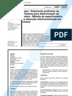 Nbr 13809 - Agua - Tratamento Preliminar de Amostras Para Determinacao de Metais - Metodo Da Espe