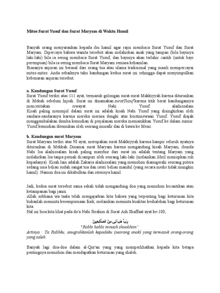 Mitos Surat Yusuf Dan Surat Maryam Di Waktu Hamil