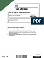 GCE Business Studies 6BS04 01 Pre-Release January 2013 Edexcel