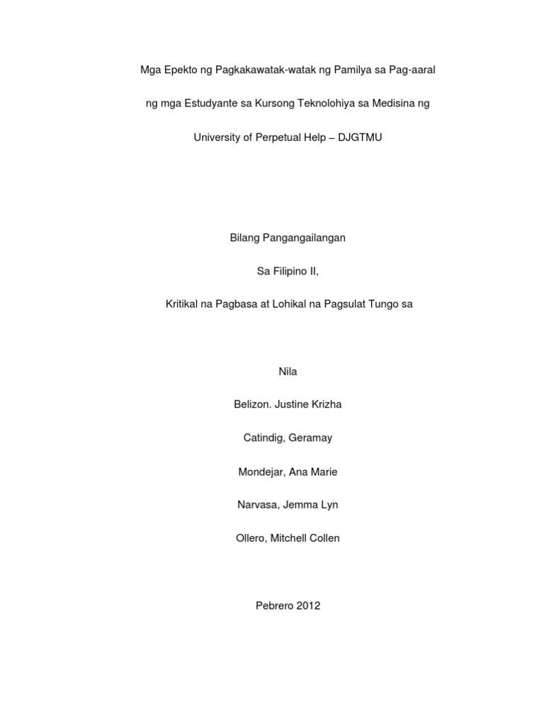 thesis sa filipino tungkol sa pagbasa